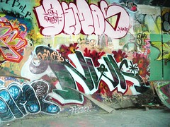 Demos NWK (Grimey  Trains) Tags: street canada art vancouver graffiti bc tag letter straight burner bh demos throwup nwk bhg handstyle