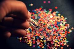 13.02.11 ~ #044/365 ( Dilanie ) Tags: glass stars perspective creative surreal confetti dreamy colourful liquid lookingthroughglass 3652011