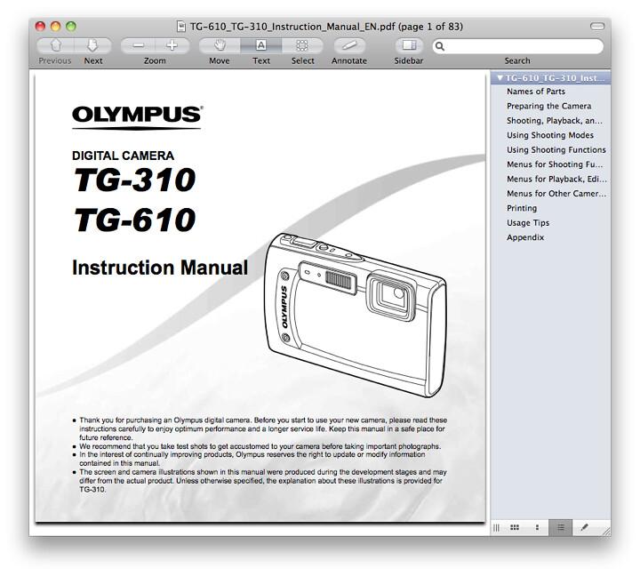 Olympus TG-610 Manual
