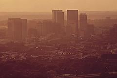 Birmingham skyline with smog 1972 (Dystopos) Tags: skyline smog birmingham alabama pollution bhamref 1972 epa leroywoodson documerica aug1972