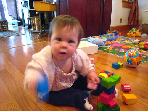 She plays with blocks now!