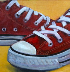 """""""Converse Reds"""" 6x6-inches, oil/canvas by Ruth Andre (Paints1) Tags: chucks converseshoes ruthandre"""