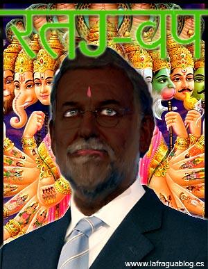fotomontaje en el que se ve a Rajoy como un gurú hindú