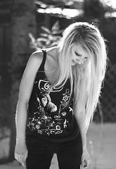 XXXII (Shandi-lee) Tags: winter blackandwhite white selfportrait snow black tree nature girl smiling standing outside outdoors 50mm hands alone eyelashes arms skin bokeh 14 longhair naturallight tanktop freckles symbols lookingdown february blondehair dirtyhair zoso snowonground canon7d ledzeppelintshirt shandilee