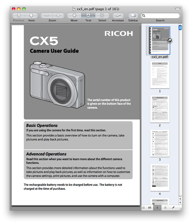 Ricoh CX5 Manual