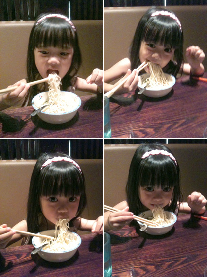 milestone: she can use chopsticks