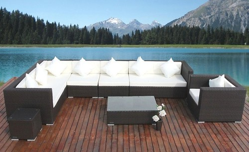 Outdoor wicker sectional patio furniture lounge
