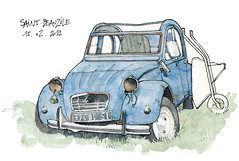 81 Saint-Beauzile (gerard michel) Tags: auto aquarelle voiture 2cv watercolour