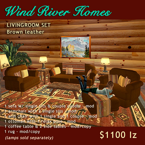 Rustic Livingroom Set - Brown Leather by Teal Freenote