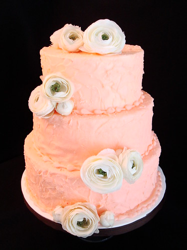 Pink with Flowers Wedding Cake originally uploaded by Austin Cake Studio