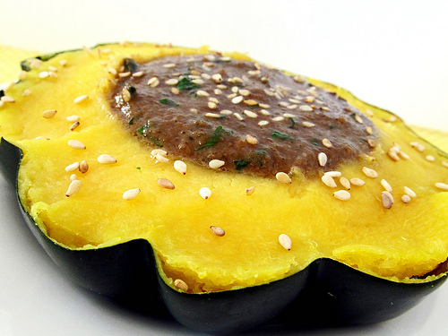 Acorn Squash with Sesame Parsley Sauce