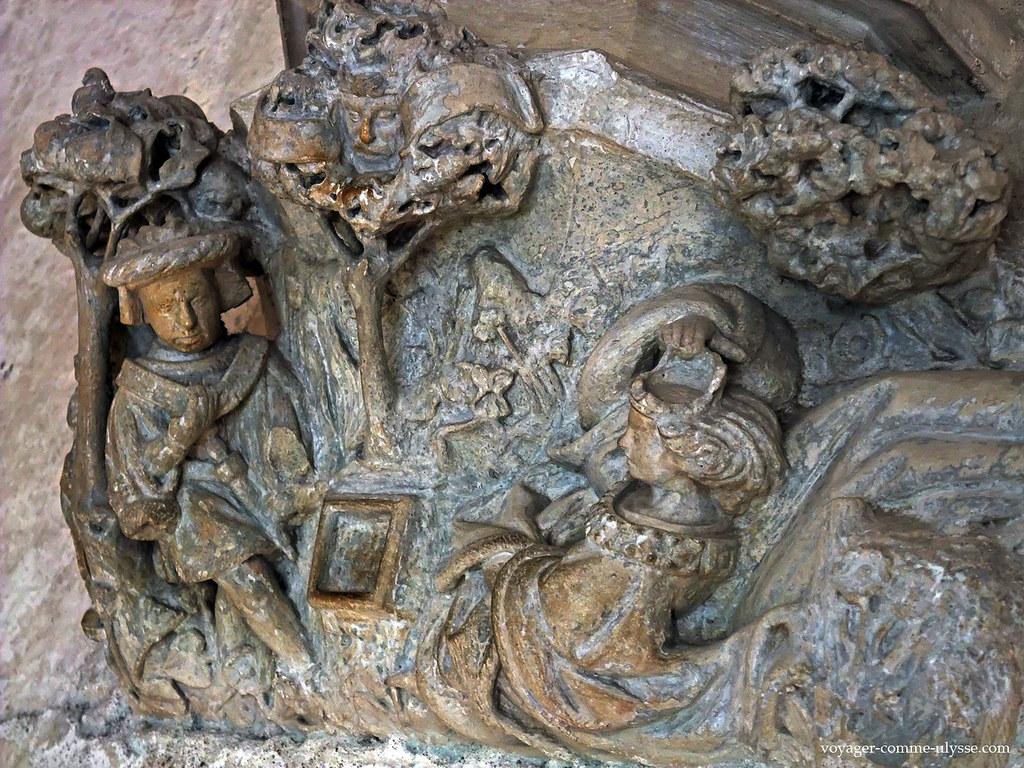 Bas-relief de Tristan et Iseult