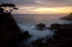 Lone Cypress Sunset (andreaskoeberl) Tags: ocean california longexposure sunset seascape tree water silhouette coast nikon rocks pacific pebblebeach lonecypress ndfilter silkywater d7000 nikond7000 andreaskoeberl