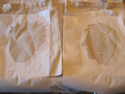 First Picasso face stencils ironed on...