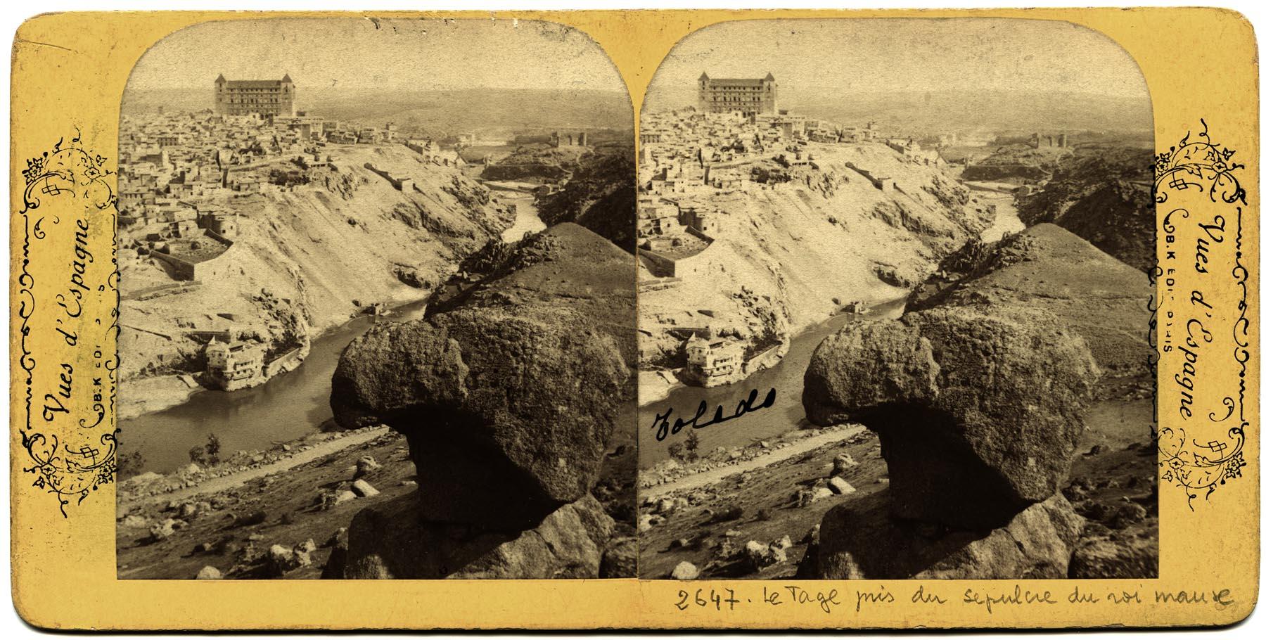 Toledo desde la Piedra del Rey Moro hacia 1870. Fotografía estereoscópica de Jean Andrieu. Colección Luis Alba,Ayuntamiento de Toledo
