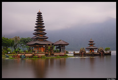 Pura Ulun Danu tranquility (Dan Wiklund) Tags: longexposure bali lake reflection water indonesia temple cloudy d200 hindu indonesian 2010 puraulundanu candikuning
