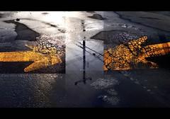 melting snow => reflective puddles <= (marianna_a.) Tags: road street blue shadow urban orange canada black reflection water yellow dark landscape puddle paint quebec pavement montreal grunge panasonic asphalt cracked marianna armata lumixg1 mariannaarmata
