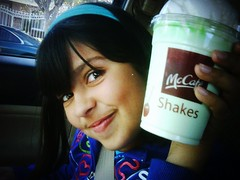 My daughter has an announcement: Shamrock Shakes are BACK!