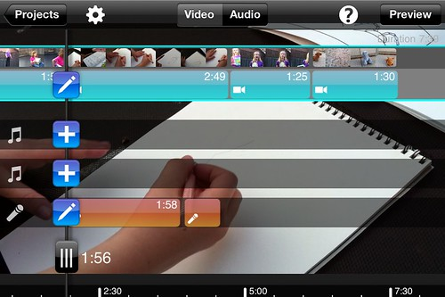 Editing audio tracks in Splice on an iPhone4
