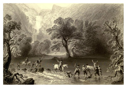 012-Capturando un ciervo cerca de la cascada Derrycunnehey-The scenery and antiquities of Ireland -Vol II-1842-W. H. Bartlett