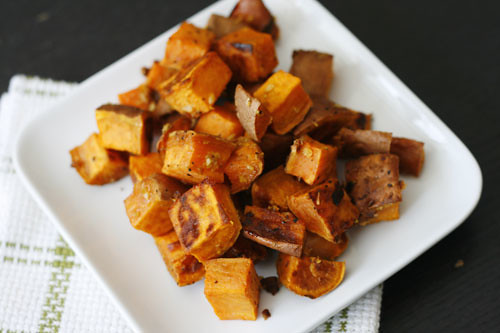 Roasted Sweet Potatoes with Garlic and Ginger