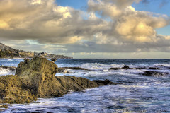Sundown Get-Together (Didenze) Tags: ocean light sunset sky seagulls birds clouds rocks warm hdr goldenhour lagunabeach canon450d hdrspotting didenze