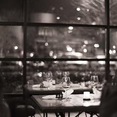 177. Rebirth (prenetic) Tags: wood windows metal night dinner reflections table glasses washington cafe candles purple chairs wine bokeh tables napkins wa kirkland wineglasses