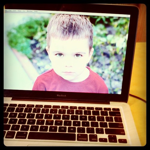 Project 365 64/365: I think the photo on my Macbook Background is hilarious. My son looks so angry.
