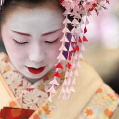 geisha / face / make up / hair / kyoto / japan / photo / japanese (momoyama) Tags: camera city travel portrait people woman colour cute girl beautiful beauty face festival japan canon hair asian japanese photo costume kyoto asia blossom bokeh traditional culture makeup 85mm maiko geisha 7d   kimono baikasai ef85mmf18 kanzashi   beautiful