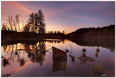 a winter dusk at bergsee (chris frick) Tags: trees sunset lake water reflections germany dusk wideangle boulders filter lee bergsee blending twoexposures badsaeckingen chrisfrick canon1635mmf28liiusm enfusegui canoneos5dmark2 075gndhard