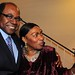 Jamaica Tourism minister Ed Bartlett celebrates with Boney M singer Marcia Barrett