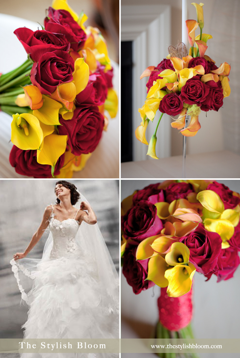 Red and Yellow bridal flowers