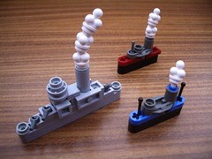 Micro Steamship Convoy (2 Much Caffeine) Tags: ship lego steam micro convoy moc tablescrap