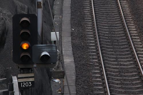"""Caution"" aspect on East Rail line signal 1203"