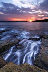 """Heading Out"" - La Perouse Sunset (Luke Peterson Photography) Tags: sunset sky sun motion water clouds la rainbow rocks waves horizon colourful perouse"