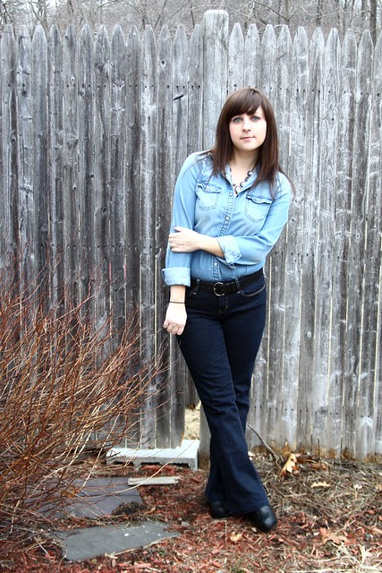 denim on denim, chambray, flared jeans, Canadian tuxedo, Texas tuxedo