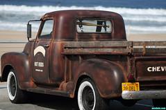 VintageChevy (mcshots) Tags: ocean california usa chevrolet beach truck vintage coast losangeles stock pickup socal chevy mcshots carpark 031811