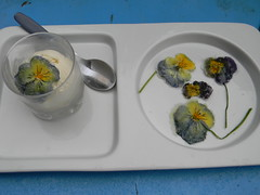 crystalized pansies with Ice Cream
