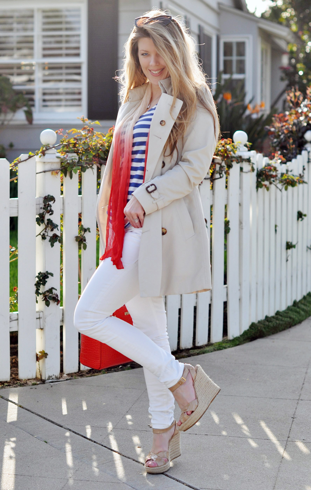burberry trench coat, nautical look, white jeans, red bag, kate spade bag, tote bag, blue and white stripes, striped tank, long blonde hair, tiffany silver necklace, espadrilles, jimmy choos, DSC_0531