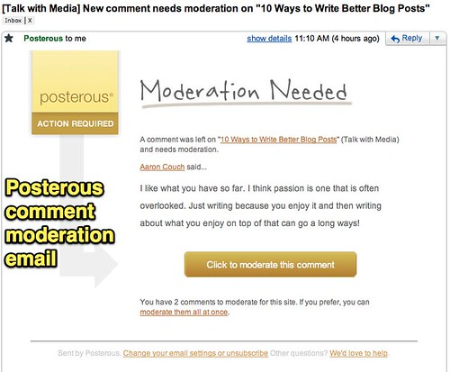 Posterous Comment Moderation Email