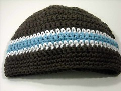 Baby Boy Beanie Hat Crochet Chocolate Brown with Blue Stripe ANY SIZE (Peanuts Creations) Tags: blue boy baby 6 brown hat mos handmade crochet cotton months 12 beanie