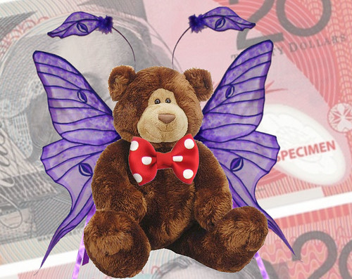 Stuffed Bear with Red Polka Dot Bow Tie and Fairy Wings