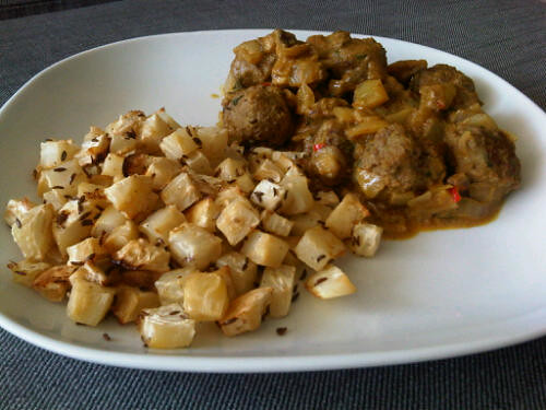 Curry meatballs and roast celeriac