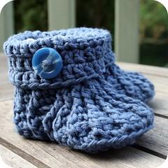 Boys button crochet booties (coffee n crochet) Tags: blue boy baby shoe crochet button bootie