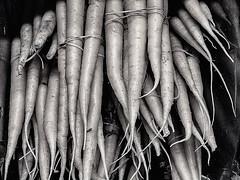 Still Life # LXXXIX ... ; (c)rebfoto (rebfoto) Tags: carrots bw blackandwhite stilllife rebfoto naturemorte harvest