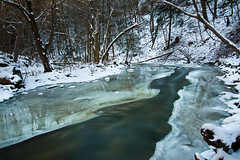 Webster's Falls Creek in Dundas, Ontario (Christopher Brian's Photography) Tags: longexposure trees winter snow ontario canada cold ice water forest naturephotography hfg webstersfalls bwfilter landscapephotography canoneos7d tokina1116mmf28