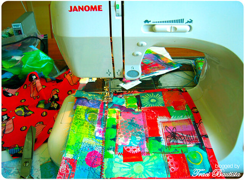 art quilted journal cover with my janome