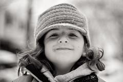4 going on 14 (Jaime973) Tags: bw 3 snow playing canon 50mm raw mygirl freckleslotsofthem 4goingon14 andalittlecolor erikasweekofnocolor becauseshesacolorfullittlegal isabellessoulshinepresetforthecolorversion