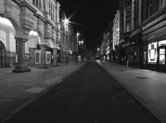 Exeter High Street Devon (Smirfman) Tags: uk blackwhite nightshot sony citylife sigma wideangle devon exeter alpha 1020mm highstreet gamewinner exetercity flickrchallengewinner a550 thechallengefactory thechallengefactorywinner sonya550