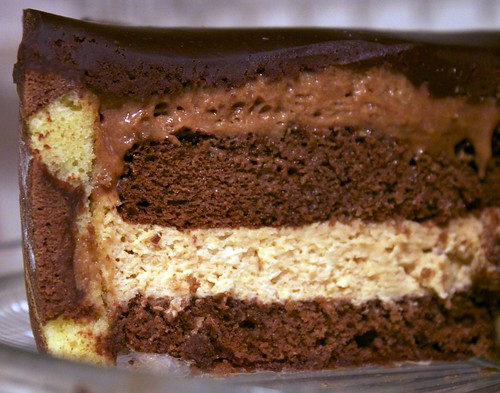 ... caramel, milk chocolate mousse ; a top layer of bittersweet chocolate